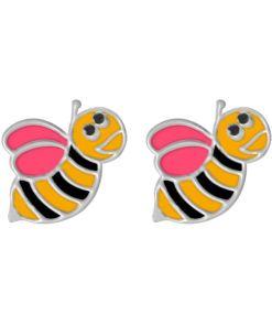 Cercei Argint 925 pentru copii, Funny Bee - Pink Wings
