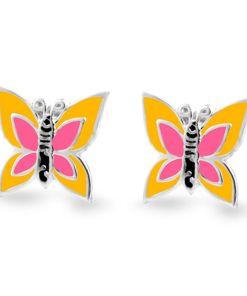 Cercei Argint 925 pentru copii, Little Yellow & Fuchsia Butterfly