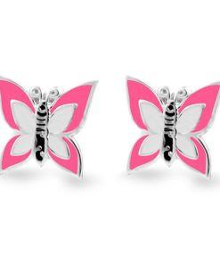 Cercei Argint 925 pentru copii, Little Fuchsia & White Butterfly
