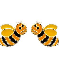 Cercei Argint 925 pentru copii, Funny Bee - Yellow Wings