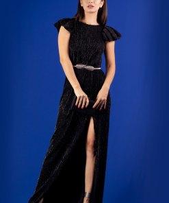 Rochie lunga cu crepeu Negru 34
