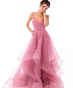 Rochie Ana Radu roz deschis de lux lunga asimetrica din tul cu bretele