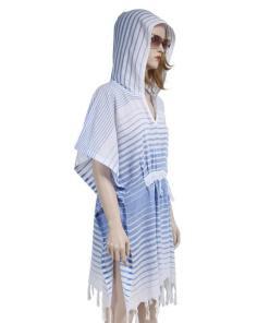 Rochie de plaja Peshtemal Blue Gradient Hood 1.00E+06