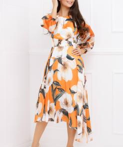 Rochie Sheba portocalie asimetrica cu imprimeu floral