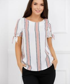 Bluza Carolina alba cu dungi roz