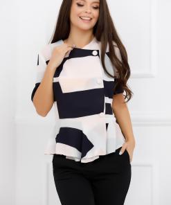 Bluza Beatrice cu imprimeu divers bleumarin si roz