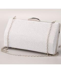 Geanta clutch argintie cu rama metalica - cod 39412