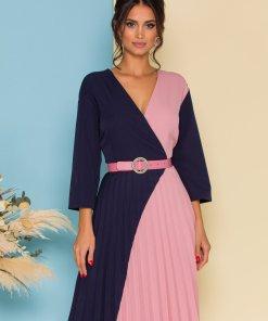 Rochie Larisa bleumarin si roz plisata