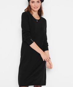 Rochie tricotată cu nasturi - negru