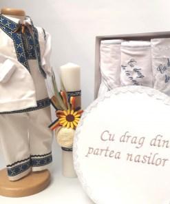 Set Traditional Botez - Costumas baietel Trusou Cutie pentru trusou Lumanare Albastru