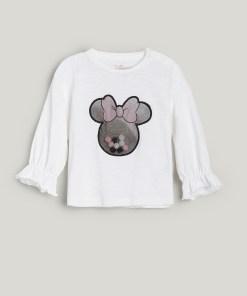 Reserved - Tricou cu mânecă lungă și aplicație Minnie Mouse - Ivory