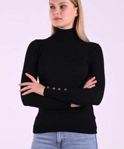 Bluza dama basic neagra reiata pe gat cu margele la mansete
