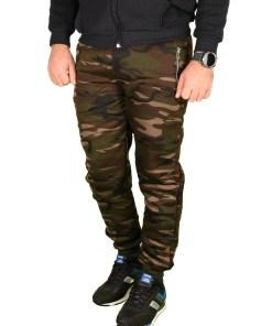 Pantaloni grosi de trening vatuiti kaki Army - cod 40352