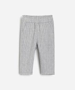Reserved - Pantaloni din jerseu cu imprimeu picior de cocoș - Gri deschis