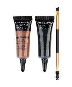 Kit sprancene 2 geluri + pensula & perie aplicare #02 PerfectBrow Kiss Beauty