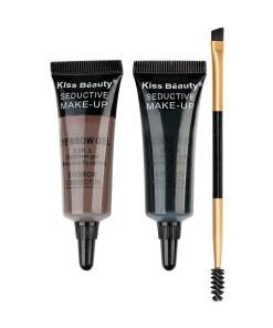 Kit sprancene 2 geluri + pensula & perie aplicare #03 SpecialBrow Kiss Beauty