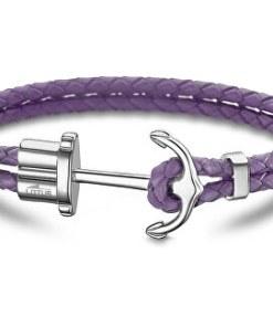 Purple brățară de piele cu ancora LS1881-2 / 3