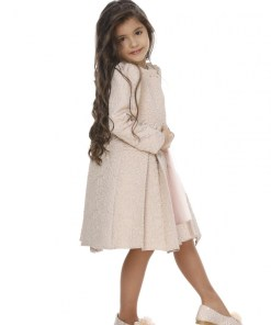 Rochie de fetite roz cu geanta si jacheta jacard lunga G 8208