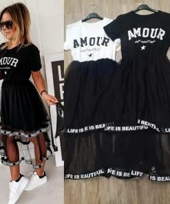 Rochie ieftina de zi neagra cu fusta din tul si corset negru cu imprimeu Amour