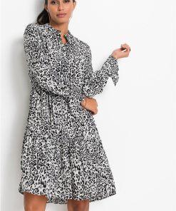 Rochie tip cămașă, cu imprimeu - gri