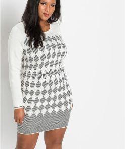 Rochie tricotată cu carouri - alb