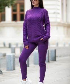 Trening dama din tricot mov cu bluza pe gat si model impletituri in V