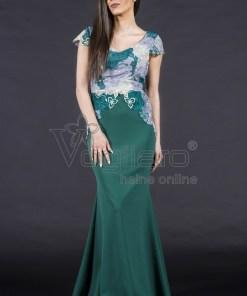 Rochie lunga tip sirena verde cu broderie