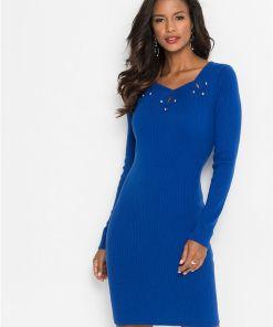 Rochie tricotată cu aplicații - albastru