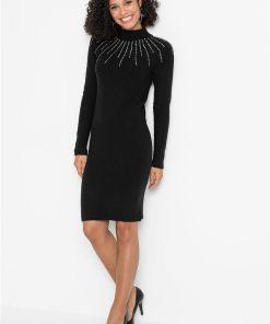 Rochie tricotată cu aplicații - negru