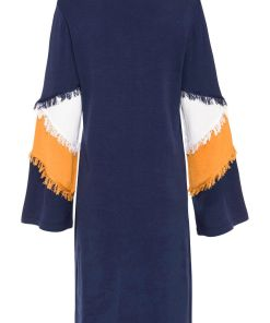 Rochie tricotată cu franjuri - albastru