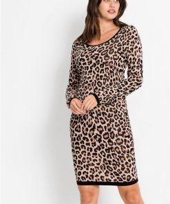Rochie tricotată cu model leo - maro