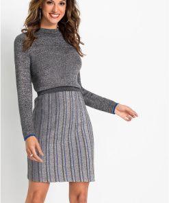 Rochie tricotată - argintiu