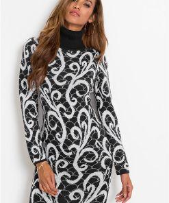 Rochie tricotată, guler rulat - negru
