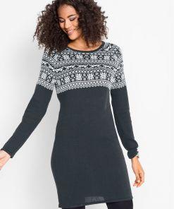 Rochie tricotată jacquard - negru