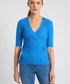Pulover din viscoză tip copertă Albastru