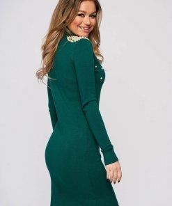 Rochie SunShine verde petrol tricotata scurta cu un croi mulat si aplicatii cu perle