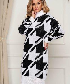 Rochie SunShine tricotata din material gros elastic pe gat cu croi larg