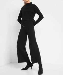 Pantaloni largi din tricot Negru
