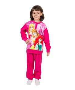 Pijama fleece Printesele Disney fucsia