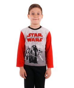Pijama baieti Star Wars The Force Awakens gri cu rosu