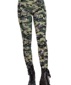 Colanti Army verzi, croiala skinny, imprimeu de camuflaj (Selecteaza Marime: M)