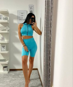 Compleu Fitness Tanya din doua piese turquoise (Selecteaza Marime: Universala)