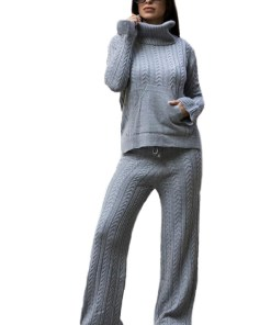 Compleu tricotat Ribelle doua piese, gri (Selecteaza Marime: Universala)