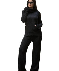 Compleu tricotat Ribelle doua piese, negru (Selecteaza Marime: Universala)