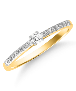 Inel logodna din aur galben de 18K cu diamant de 0.08ct 15316