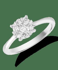 Inel logodna din aur alb de 18K cu diamante de 0.34ct 16514