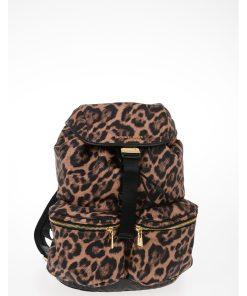 Michael Kors Animal Printed Fabric Multi-pocket PERRY Backpack BROWN
