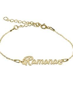 Bratara Argint Placata cu Aur 18 karate, Nume Ramona, 15 + 4 cm