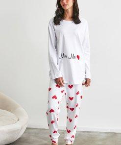 Pijama cu imprimeu inima 3250902