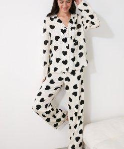 Pijama cu imprimeu cu inimi 3379644